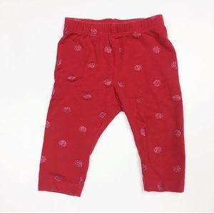 Baby Gap Print Stretch Jersey Leggings Red 0-3M